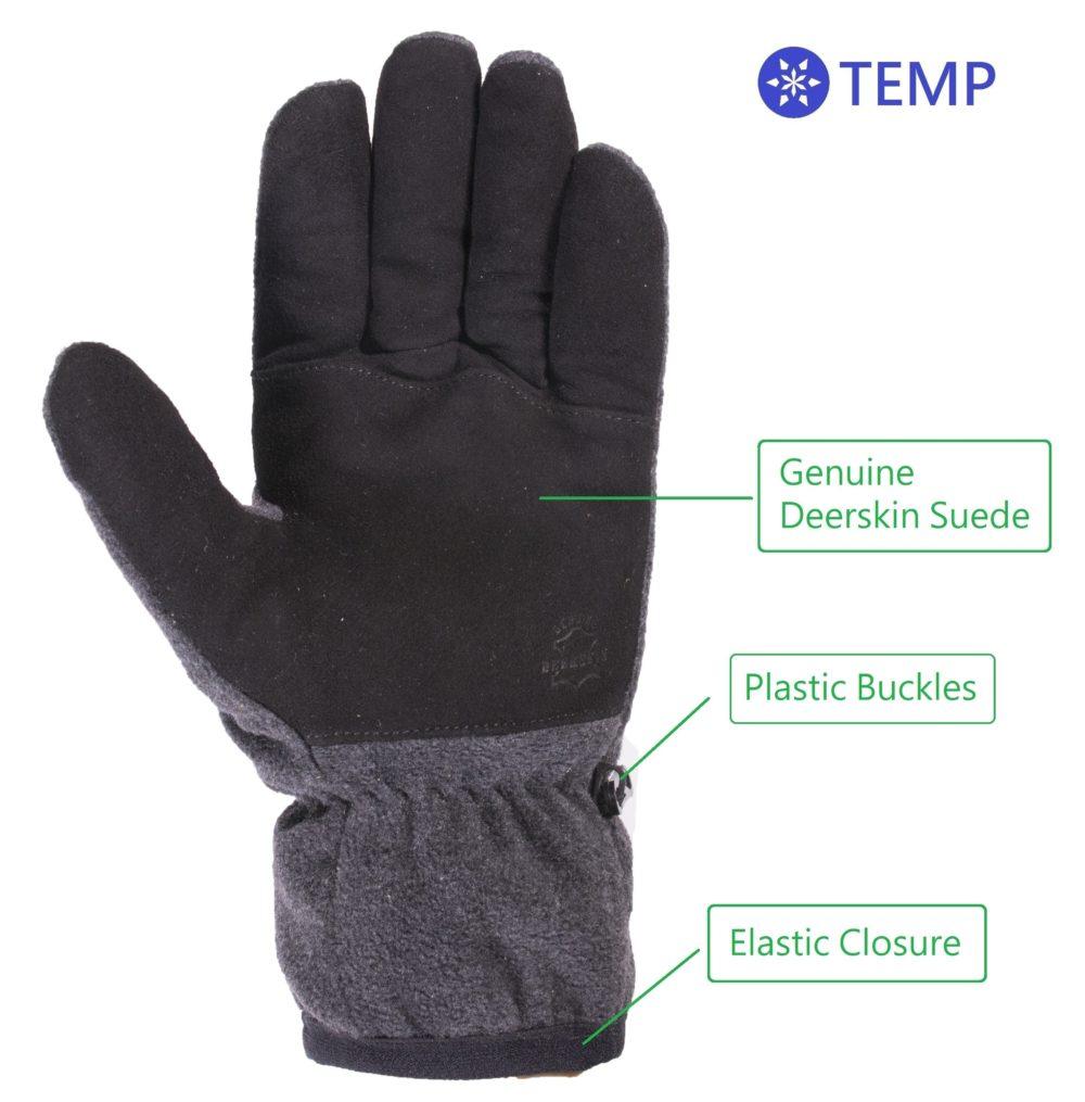 Skydeer Premium Genuine Deerskin Suede Leather And Polar